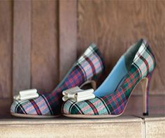 Designing tartan wedding shoes. How to design your own wedding shoes at upperstreet.com. #upperstreet #designyourownshoes