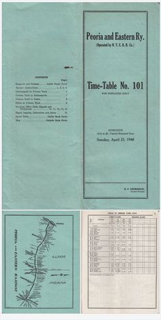 1948 Peoria & Eastern Railway Employee Time Table No. 101 System Map Vintage