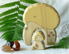 Wooden toy waldorf  AUTUMN nature table decoration  by Rjabinnik, $16.90