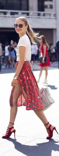 feeling summery in red skirt!