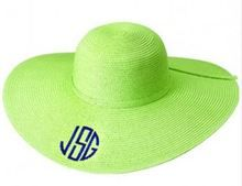 61920c45ce526 Our monogrammed sun hat is lime green and is perfect for the pool or beach.