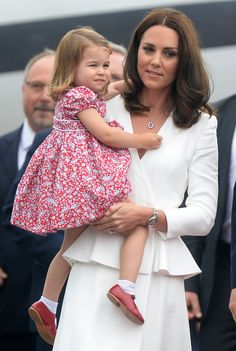 The Duke and Duchess of Cambridge, Prince George and Princess Charlotte arrive at Warsaw Chopin Airport at the start of their two day visit to Poland, on the 17th July 2017. 17 Jul 2017 Pictured: Princess Charlotte, Catherine, Duchess of Cambridge, Kate Middleton. Photo credit: MEGA TheMegaAgency.com +1 888 505 6342 July 17, 2017  *** Local Caption *** MEGA56091_016