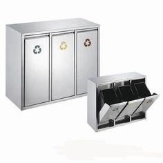 Edelstahl Abfallsammler Abfalleimer Mülleimer Mülltrennung NEU (24 Liter 3x8L)