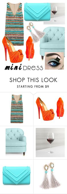 """""""#mini_dress #orange #blue #sofa #cat"""" by margosedih ❤ liked on Polyvore featuring Alice + Olivia, Christian Louboutin, Kate Spade and Crate and Barrel"""