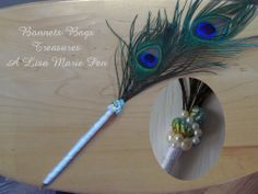 Peacock Feather Pen wrapped with white ribbon shell and pearl beads great desk pen Weddings Birthdays Graduations