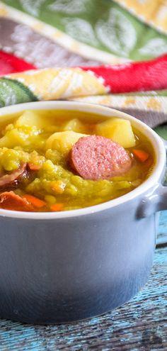 Slow Cooker, Slow Cooker Meals, Soup, Soup Recipes Slow Cooker, Soups in a Crock Pot, Split Pea, Kielbasa, Kielbasa and Potatoes