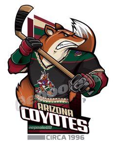 Retro late Phoenix Coyotes, courtesy of that great cartoonist - Modern Hockey Logos, Nhl Logos, Hockey Teams, Hockey Stuff, Arizona Coyotes, Creative Logo, Coyotes Hockey, Phoenix Coyotes, Team Mascots