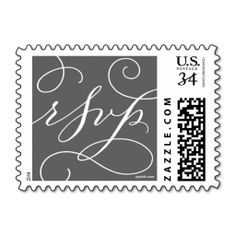 RSVP . with a Flourish : White and Charcoal Postage Stamps http://www.zazzle.com/rsvp_with_a_flourish_white_and_charcoal_postage-172661120645009258?denomination=34&rf=238194283948490074&tc=pfz #calligraphy #elegant #engagement #flourish #gray #love #reply #response #rsvp #wedding #amor #bride #ceremony #copperplate #fancy #flourished #flourishes #groom #hand #lettered #reception #shower #swirls #vows #xandra #zamora #xyzink #postagestamps #zazzle