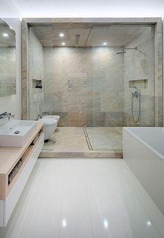 Ladrillo visto en interiores: baño del dormitorio principal