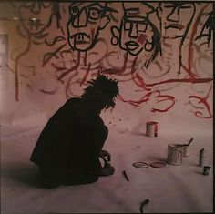Jean Michel Basquiat at work
