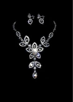 Brilliant First Class Austrian Diamonds & Alloy  Necklace and Earrings For Your Wedding Dress