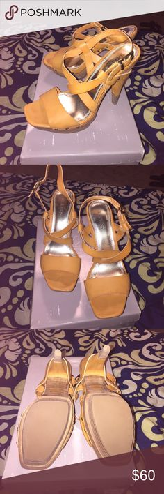 Platform heels! 👠 Tan Heels from the old Bakers shoe store. Worn once! Like new..🙂 Shoes Heels