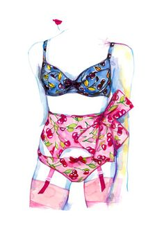 cherry bomb | watercolor on paper | #lingerie #cherries