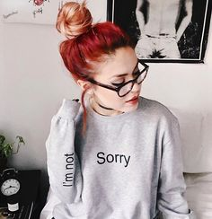 Sorry I'm Not Sorry Le Happy Grey Sweatshirt Sweater door blvckshop Mom Outfits, Cute Outfits, Fashion Outfits, Women's Fashion, Grunge Outfits, Grunge Fashion, Luanna Perez, Red Hair Don't Care, Grey Blouse