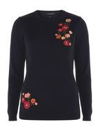 Womens Navy Floral Embroidered Jumper- Blue