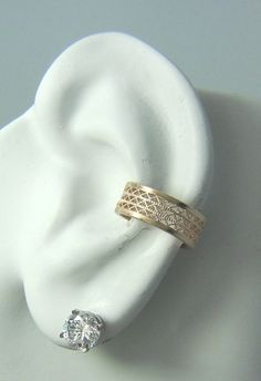 POST Conch Pierced Cartilage Earring 16G Post 14K Gold Filled Ear Cuff Wide Gallery Wire EG3GFP16g on Etsy, $40.03
