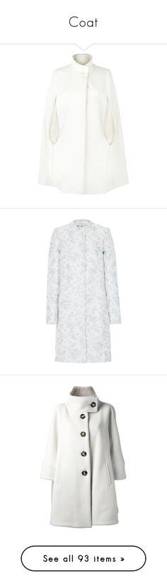 """""""Coat"""" by luciaborrayo on Polyvore featuring outerwear, coats, cape, jackets, tops, wool coats, white cape coat, cape coats, white wool cape y white coat"""