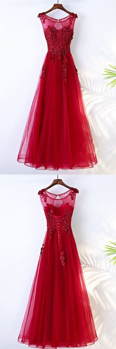 Shop Burgundy Long A Line Formal Party Dress Sleeveless With Lace online. SheProm offers formal, party, casual & more style dresses to fit your special occasions. A Line Prom Dresses, Lace Bridesmaid Dresses, Tulle Prom Dress, Lace Dress, Formal Dresses, Burgundy Bridesmaid, Long Dresses, Bridal Party Dresses, Perfect Prom Dress