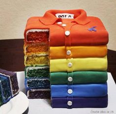 Fathers Day Cake! rainbow polo shirt cake decorating idea for dad, grandpa, pop or son #golf #birthday #colour