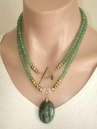 Ashira Green Jade Gemstone Necklace with GF Toggle and Luscious Rich Green Kambaba Pendant,