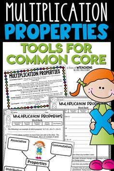 This multiplication properties practice pack comes with a reference/study card and practice sheets for students. Use this resource to reteach multiplication properties or give it as an assessment after teaching.  Properties included: Commutative Property, Associative Property, Distributive Property, Identity Property, and the Zero Property.