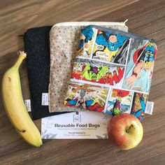 Avengers Themed 3 Pack Reusable Washable Lined Zippered Food Bag Sandwich Size by PurcellSewingCo on Etsy Feminine Hygiene, Reusable Bags, Fruits And Veggies, Safe Food, Washing Machine, Dishwasher, Avengers, Sandwiches, Lunch Box