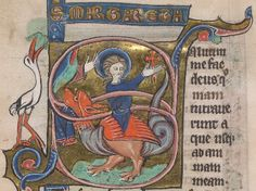 St. Margaret doesn't bother with begging poems - she just pops the dragon open. British Library MS Burney 345, fol. 86v. Dutch, 13th c.