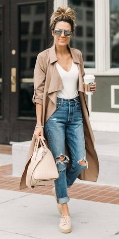 Christine Andrew  + ripped denim jeans + rolled at the ankle + white V neck tee + blush pink coat + sneakers + neutral calming tones + perfect for spring mornings.   Brands not specified.