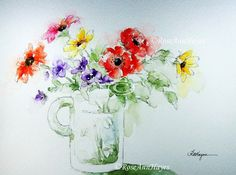 "This is an open edition print of a watercolor painting of a bouquet of colorful flowers in a glass mug. The print measures 5"" x 7"", and it comes"
