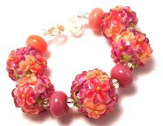 HANDMADE SRA Lampwork Glass Beads Shades of Raspberry Sorbet Floral Bead Set 9 #BYTHEBARONESS #Lampwork