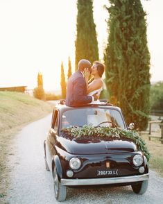 Is there anything more inherently Italian than a Fiat? Since they were married in Tuscany, Leila and Joel made sure to pose for photos in this classic getaway car. The beautiful sunset only made the shot that much prettier. Wedding Exits, Plan Your Wedding, Budget Wedding, Wedding Locations, Wedding Photos, Wedding Day, Wedding Timeline, Wedding Hacks, Wedding Stuff