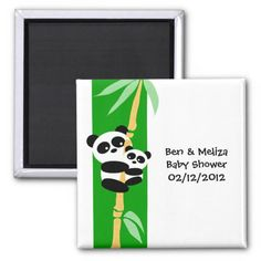 Mommy and Baby Panda Baby Shower Magnet