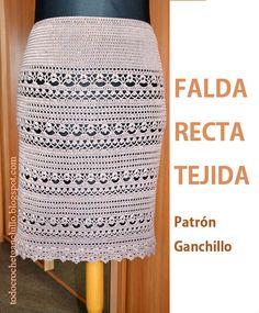 Todo crochet: Falda Recta Tejida con Ganchillo para Todos los Ta...