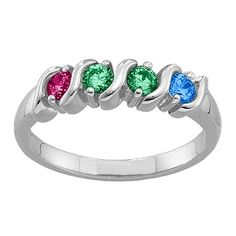 2-6 Gemstones S-Curve Ring | Jewlr