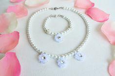 flower girl jewelry set necklace and bracelet glass by sestras