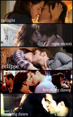 Collage o'kisses from the Twilight series.