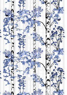 Luontopolku, blue, design by Riina Kuikka Garden Office, Study Office, Textured Walls, Indoor Garden, Curtains, Interior, Blue Design, Things To Sell, Fabrics