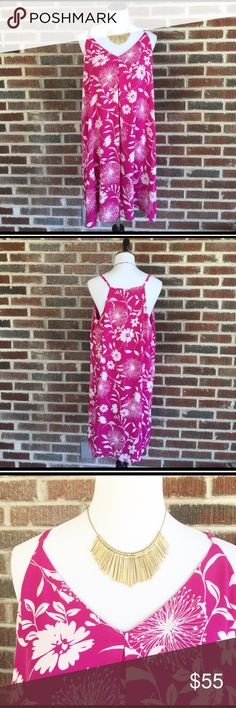 """Vince Camuto Flower & Dandelion Plum Tart Dress NWT and easy breezy beautiful is this oversized dress from Vince Camuto.  V-neck & is blousy with adjustable straps. A flower & dandelion Print in a vibrant plum pink Fully lined & ready to be your summer staple dress.  The great thing about this dress is even on days you don't feel 100% you can still look 100%. Dress it up or down.  Pair with a jean jacket or blazer to wear out on town/drinks/shopping. Chest measures ~21.5"""" armpit to armpit…"""