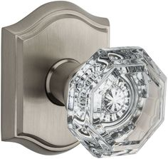 Baldwin PS.CRY.TAR Crystal Passage Door Knob Set with Traditional Arch Trim from Satin Nickel Knobset Passage