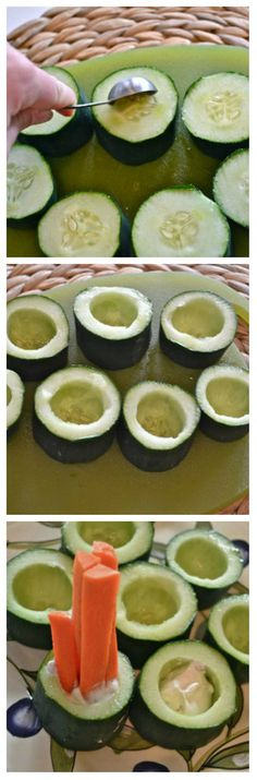Cucumber Dip Cups. Fill with ranch dip and stand fresh veggie strips inside. Cute.