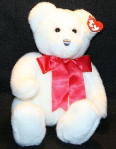 "2006 Scrumptious TY White Teddy Bear RED SATIN BOW  Plush Stuffed ANIMAL TOY 12"" #TY"