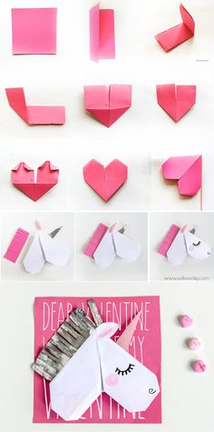 Unicorn Valentine's Day Cards and Unicorn Bookmarks - Cute ideas - Origami Diy Origami, Origami Paper, Diy Paper, Paper Crafts, Oragami, Origami Unicorn Easy, Unicorn Diys, Unicorn Crafts, Kids Crafts