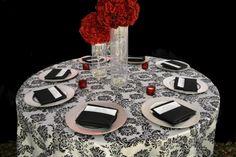 Black & White Damask Tablecloth