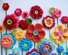 CROCHET PATTERN - Floral Fantasy - 5 yummy flowers and 2 lovely leaf patterns - Instant PDF Download