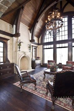 Traditional Living Room Design, Pictures, Remodel, Decor and Ideas - page 51 Home Interior Design, Interior Architecture, Room Interior, Gothic Interior, Beautiful Interior Design, Classic Interior, Amazing Architecture, Style Villa, French Country Living Room