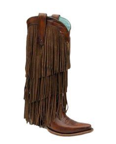 Corral Womens Sierra Tan Fringe Tall Top Boot - C2700