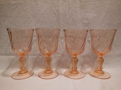 FOUR Rosaline Pink Swirl Luminarc Wine Goblets - 5-3/4 inch - 5 ounce