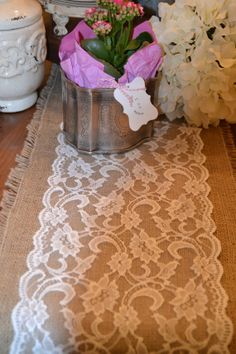 Burlap and Lace Table Runners 108 by14 White 9 Wide by LolaAndBea, $18.50