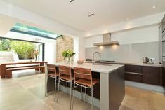 Great rooflight combined with open doors and a contemporary kitchen - clean lines and lots of light!