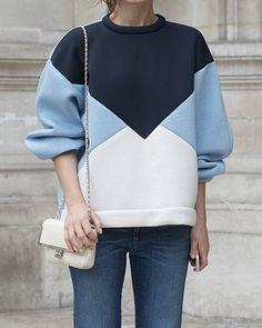 Casual Style Jewel Neck 3/4 Sleeve Color Block Sweatshirt For Women